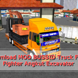 MOD Truck Fuso Fighter Angkut Excavator